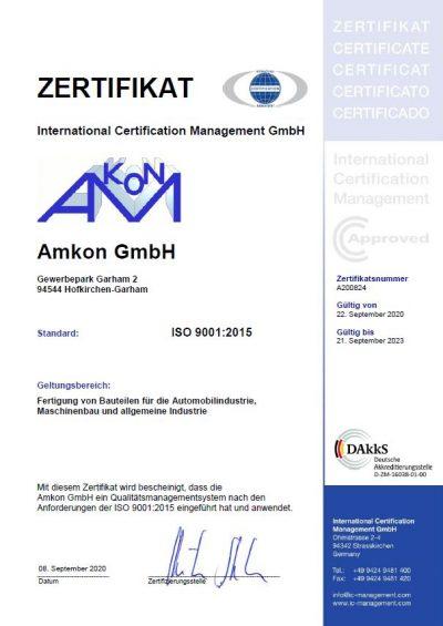 Amkon GmbH Zertifikat